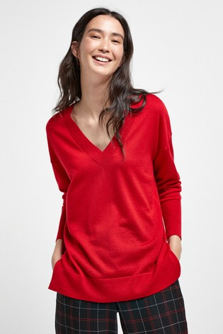 Red Merino V-Neck Jumper