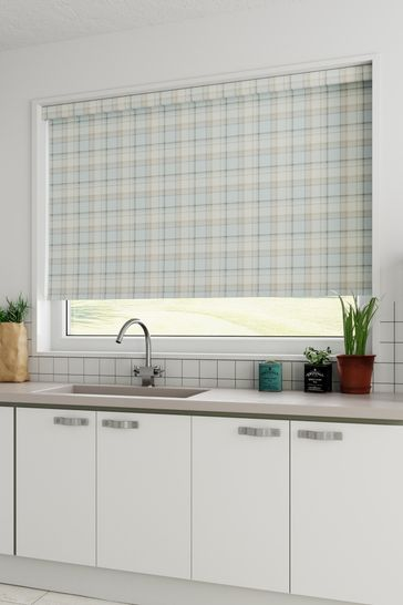 Teal Blue Marlow Check Made To Measure Roller Blind