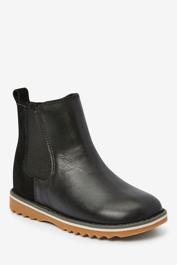 Black Warm Lined Leather Chelsea Boots (Younger)