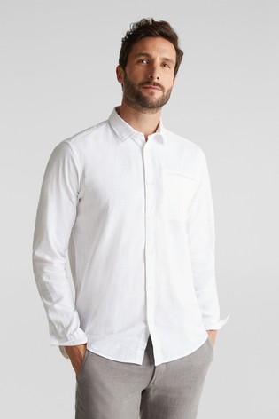 Esprit White Long Sleeved Woven Shirt