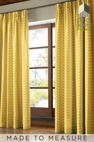 Linear Stem Dandelion Yellow Made To Measure Curtains by Orla Kiely
