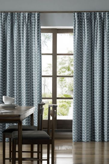 Linear Stem Cool Grey Lined Made To Measure Curtains by Orla Kiely