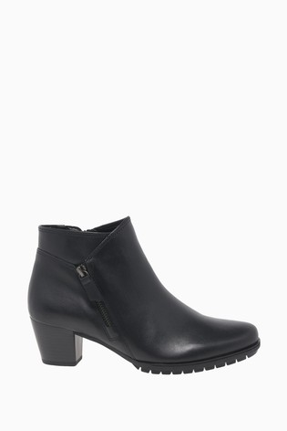 Gabor Nirvana Black Leather Fashion Ankle Boots