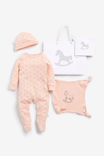 The Little Tailor Pink Sleepsuit, Hat & Comforter Gift Set