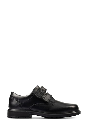 Clarks Black Leather Remi Pace KIds Shoes