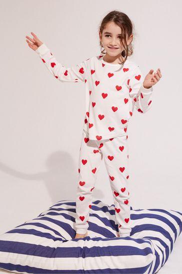 Petit Bateau White Heart Pyjamas