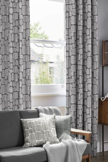 Little Trees Charcoal Black Made To Measure Curtains by MissPrint