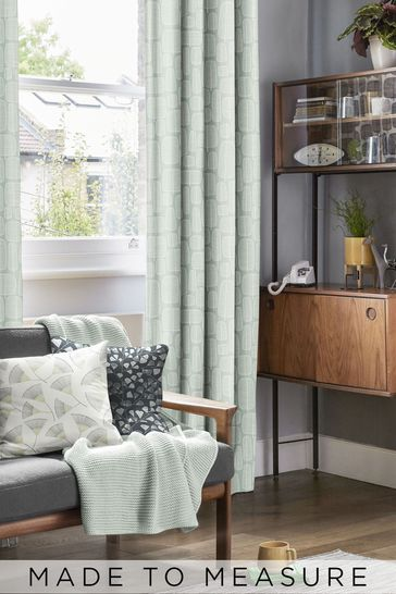 Little Trees English Grey Green Made To Measure Curtains by MissPrint