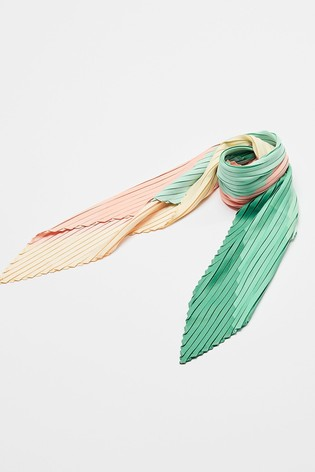 Oliver Bonas Striped Print Pleated Square Hair Scarf