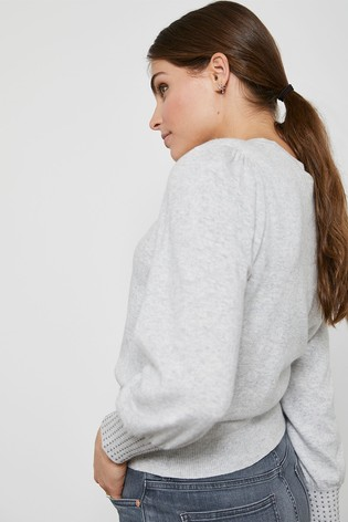 Mint Velvet Grey Stud Cuff Detail Jumper