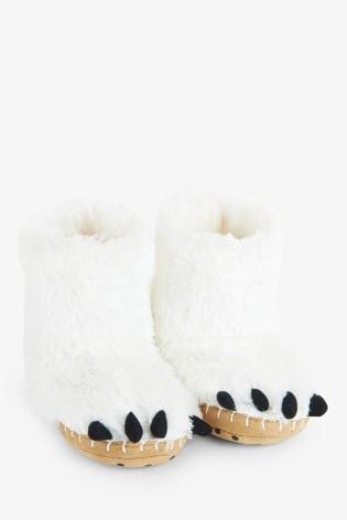 Hatley Kids White Polar Bear Paws Slippers