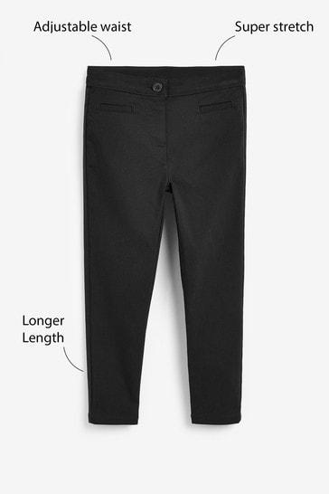 Black Longer Length Skinny Stretch Trousers (3-17yrs)