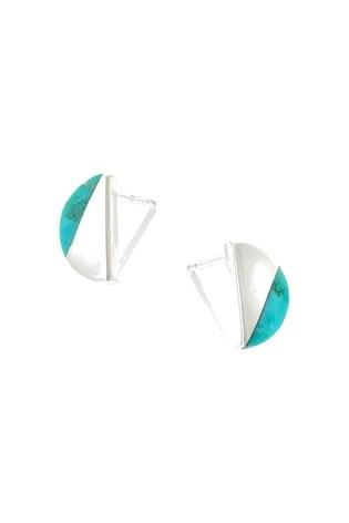 Oliver Bonas Sterling Silver Semi Circle Slice Stud Earrings