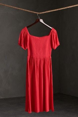 Superdry Kala Smocked Midi Dress