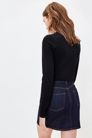 Oasis Black Sequin Embellished Jumper