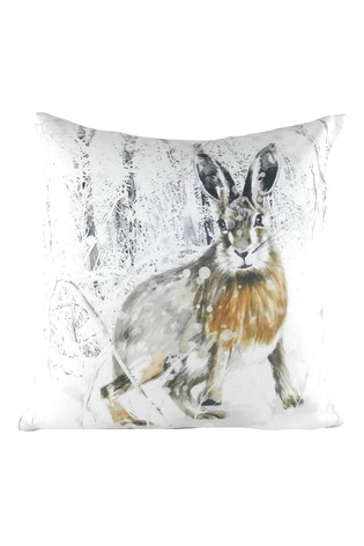 Evans Lichfield White Christmas Snowy Hare Cushion