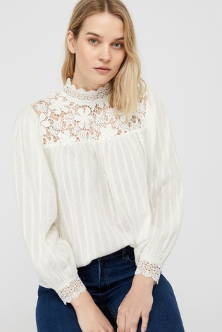 Monsoon Cream Flower Lace Top