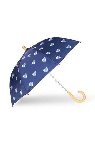 Hatley Blue Striped Hearts Umbrella