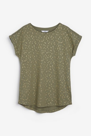 Khaki Glitter Animal Print Curved Hem T-Shirt