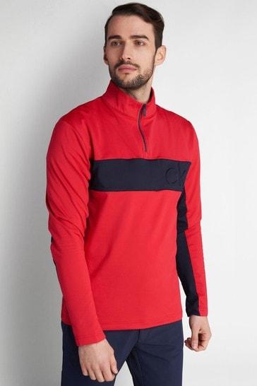 Calvin Klein Golf Red Embossed Half Zip Top