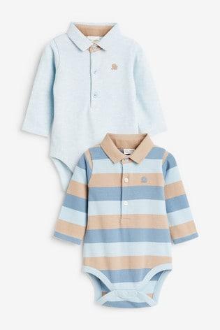 Blue/Stone Two Pack Stripe Pique Polo Bodysuits (0mths-2yrs)