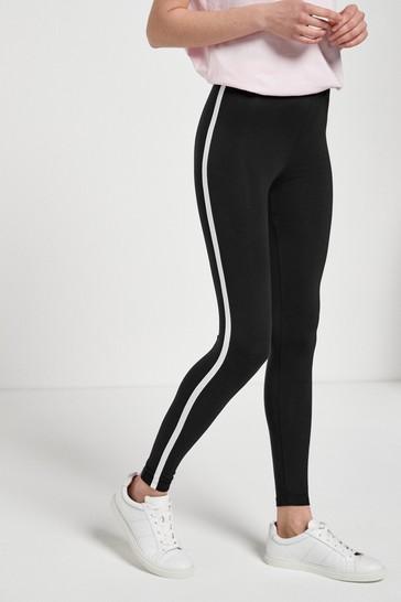 Black Side Stripe Full Length Leggings