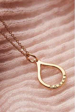 Personalised Medium Open Droplet Necklace by Posh Totty Designs