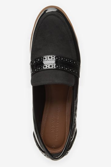 Black Material Mix Regular/Wide Fit Forever Comfort™ Brogue Detail Chunky Sole Loafers