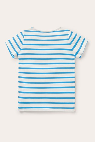 Boden Blue Stripey Appliqué T-Shirt