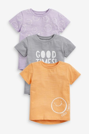 Multi 3 Pack Good Times Smiley T-Shirts (3mths-7yrs)