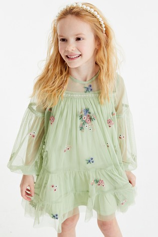 Green Tiered Embroidered Dress (3-16yrs)