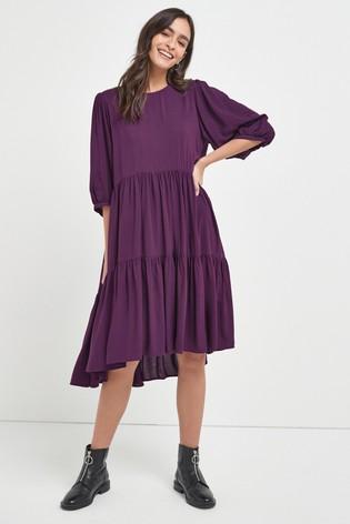 Purple Tiered Midi Dress