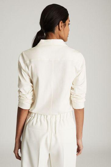 Reiss White Fernanda Zip Neck Poloshirt