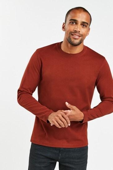 Rust Regular Fit Long Sleeve Crew Neck T-Shirt