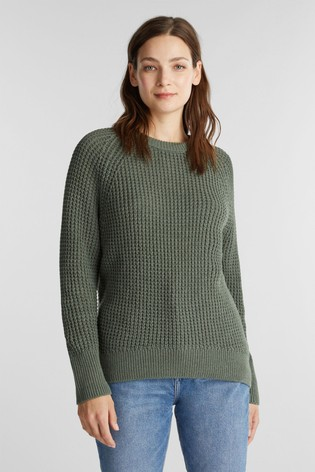 Esprit Womens Green Long Sleeved Waffle Sweater