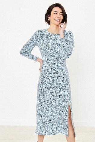 Oasis White Dash Dot Print Dress