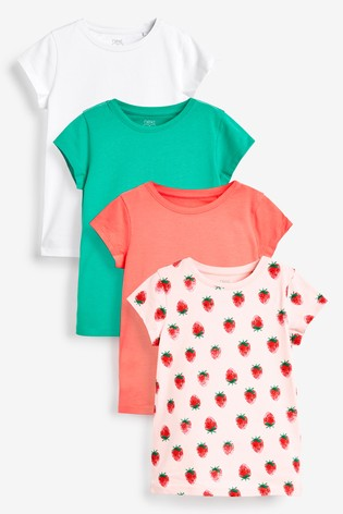 Strawberry Print 4 Pack Short Sleeve T-Shirts (3-16yrs)