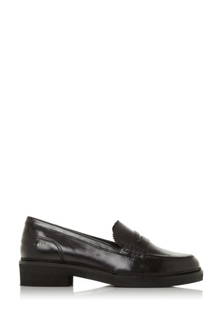 Bertie Genny Black Leather Penny Loafers