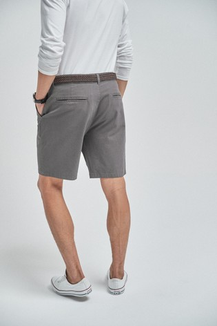 Charcoal Straight Fit Ditsy Print Belted Chino Shorts