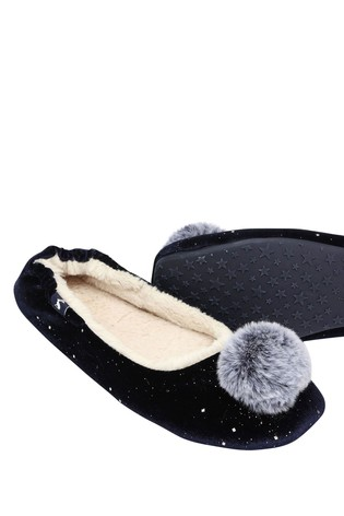 Joules Blue Pombury Ballet Slipper With Pom