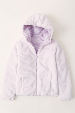 Abercrombie & Fitch Lilac Faux Fur Padded Jacket