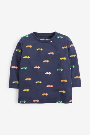 Navy Long Sleeve Printed Cars Jersey T-Shirt (3mths-7yrs)
