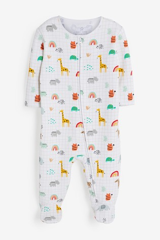 Bright Safari Fleece Lined Sleepsuit (0mths-2yrs)