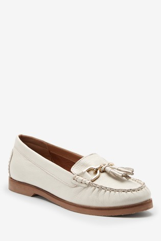White Forever Comfort® Hardware Leather Moccasins