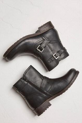 FatFace Black Debden Biker Boots