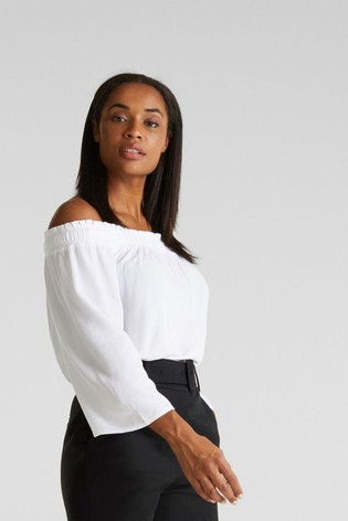 Esprit White Rayon Crêpe 3/4 Sleeved Top