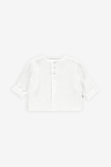 The Little Tailor White Cotton Cardigan
