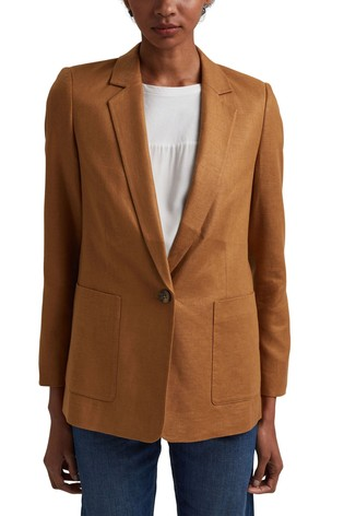Esprit Brown Oversized Linen Blend Blazer