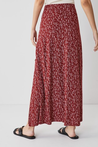 Berry Floral Jersey Maxi Skirt