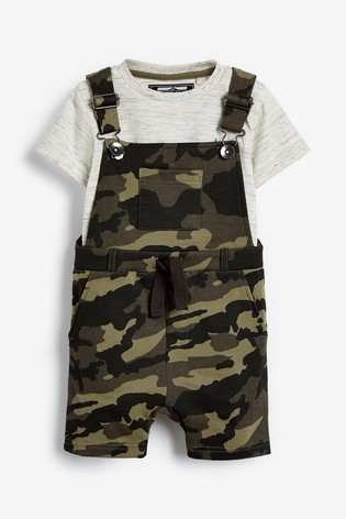 Camouflage Short Dungarees and T-Shirt Set (3mths-7yrs)